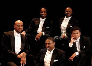 Three Mo' Tenors cast.  L to R:  Duane A. Moody, James Berger, Kenneth Alston,  Phumzile Sojola, Victor Robertson.
