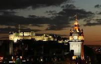 Beautiful nighttime shot of the city of Edinburgh.