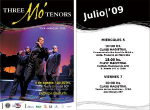 The show poster (left) and schedule of master classes conducted by Three Mo' Tenors.